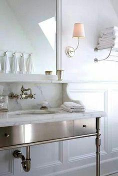 Home Decor Living Room Gorgeous metal and marble vanity.Home Decor Living Room Gorgeous metal and marble vanity. Bathroom Interior, Home Interior, Interior Design, Modern Bathroom, Classic Bathroom, Interior Colors, Minimalist Bathroom, Bath Design, Home Design