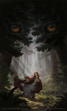 digital painting of red riding hood running down a forest path wolf eyes in the tree boughs above by Christine Mitzuk