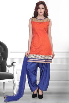 Tangerine Readymade Salwar Kameez