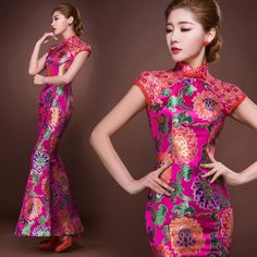 Lace shoulder rose red floral brocade Chinese wedding dress mermaid evening gown XingFuYiZhan-359 001