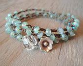 Pearl crochet necklace or wrap bracelet 'Uptown Bohemian' rustic Thai Silver flower dangle, cream, ivory, luxe shabby boho chic. $62.00, via Etsy.