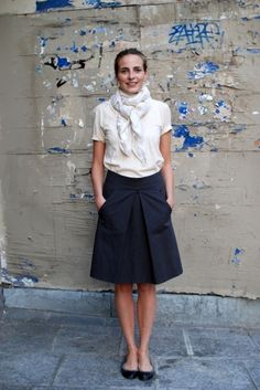 White Scarf | White Tee | Navy Skirt