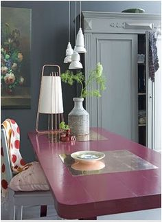 Pink table, a little softer with the greys and white.