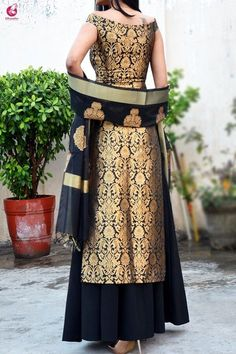 Indian designer outfits - Buy Black Brocade Padded off Shoulder Kurta Online in India Colorauction Party Wear Indian Dresses, Indian Gowns Dresses, Indian Fashion Dresses, Dress Indian Style, Pakistani Dresses, Indian Outfits, Dress Party, Pakistani Bridal, Dresses Dresses