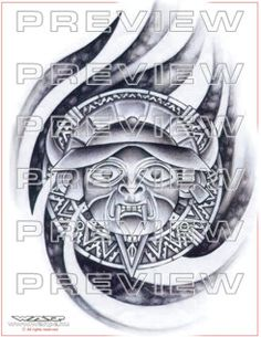 amazing aztec god tattoo design