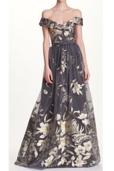 Marchesa Notte Silver Floral Off the Shoulder Evening Gown | Poshare
