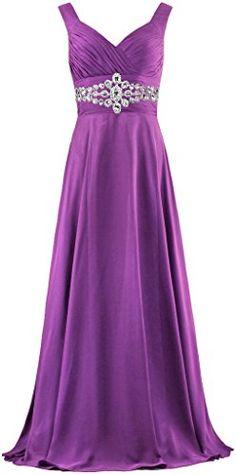 Women's Tank Neck Long Prom Dress Straps Bead Evening Gown Size 26W US Purple