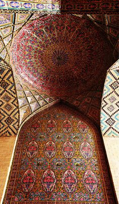 104 Mesmerizing Mosque Ceilings That Highlight The Wonders Of Islamic Architecture Nasir Al-Mulk Mosque, Shiraz, Iran www. Architecture Design, Persian Architecture, Beautiful Architecture, Beautiful Buildings, Mughal Architecture, Futuristic Architecture, Islamic World, Islamic Art, Islamic Tiles