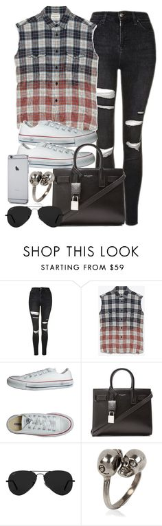 """""""Style #10970"""" by vany-alvarado ❤ liked on Polyvore featuring Topshop, Yves Saint Laurent, Converse, Ray-Ban and Alexander McQueen"""
