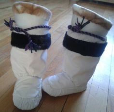 Inuit made child's kamiks by Maggie Qillaq