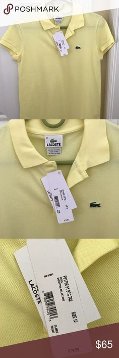 Ladies size 10 or 42 yellow Lacoste polo shirt Ladies yellow Lacoste polo shirt size 42 or US size 10. New with tags. Retail $79.50. Purchased from Nordstrom. Lacoste Tops