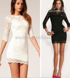 Wholesale Casual Dresses - Buy Fashion Women Ladies Lace Short Dress Spring Autumn Half Sleeve Suit White Black Round Neck, $15.63 | DHgate