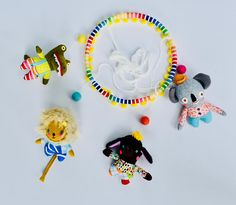 Animal Baby Mobile // A Perfect and Unique Gift for Modern Parents // Made Just For You Pink Cheeks, Colorful Animals, Unique Gifts, Handmade Gifts, Little Babies, Wooden Toys, Wool Felt, Baby Animals, Fabric Design