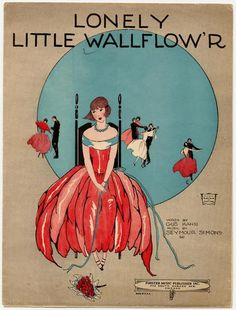 "Vintage 1923 sheet music- ""Lonely Little Wallflow'r"""