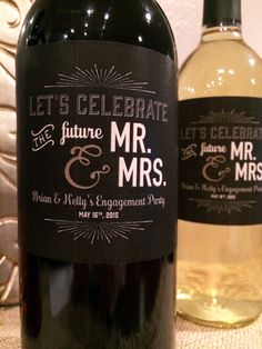 Engagement Party Wine Labels, Newly Engaged Gift, Wedding Gift Champagne, Engagement Party Favors, E Winter Engagement Party, Engagement Party Favors, Engagement Party Decorations, Wedding Party Favors, Engagement Gifts, Wedding Engagement, Gift Wedding, Engagement Dinner Ideas, Backyard Engagement Parties