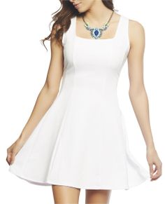 af90e0be61 Beautiful and ultimate chic fit and flare tank dress has a pieced textured  ponte knit body