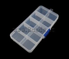 Jewelry Beads Container, Plastic, Rectangle, translucent***1,20/0,90