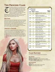DnD Homebrew — Princess Class by impersonater An awesome take on a potential new class for your next campaign! Dungeons And Dragons Classes, Dungeons And Dragons Homebrew, Dungeons And Dragons Characters, Dnd Characters, Fantasy Characters, Dungeons And Dragons Races, Dungens And Dragons, Dungeons And Dragons Adventures, Twilight Princess