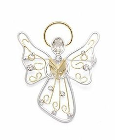 Macy's Holiday Lane Charter Club Brooch, Two Tone Crystal Christmas Angel Brooch Pin Holiday Lane. $19.95. Hark! The Herald Angel's sing. Charter Club's beautifully-crafted angel pin features an intricate, cut-out design in silver and gold tone mixed metal with sparkling round and oval-cut crystals.. Item comes packaged in a signature gift box.. Approximate size: 2-1/4 inches.