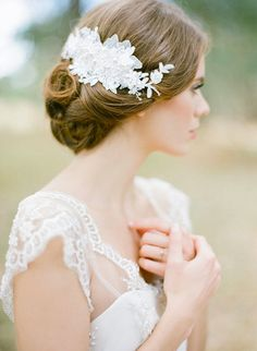 LUCILLE lace bridal comb with pearls in ivory by percyhandmade
