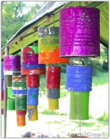 They want wind chimes.give them windchimes.Tin can wind chimes Garden Projects, Art Projects, Garden Crafts, Garden Ideas, Upcycling Projects, Repurposing, School Projects, Art For Kids, Crafts For Kids