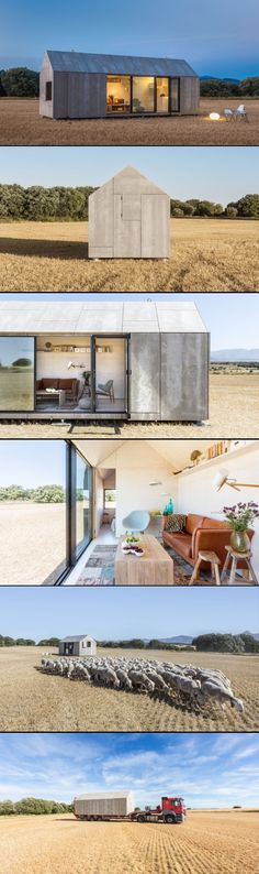 ABATON architects, Madrid, Spain / stylish prefab portable housing made of wood and cement board.