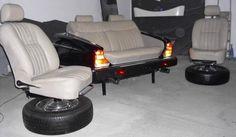 Convert Your Garage into a Man Cave - Man Cave Home Bar Tire Furniture, Garage Furniture, Car Part Furniture, Garage Interior, Automotive Furniture, Automotive Decor, Recycled Furniture, Cool Furniture, Furniture Design