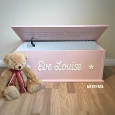 Pink Small Personalised Toy box, Ideal gift for baby shower, Christening, naming day or birthday.