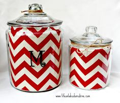 Chevron Lined Jars by Life on Lakeshore Drive