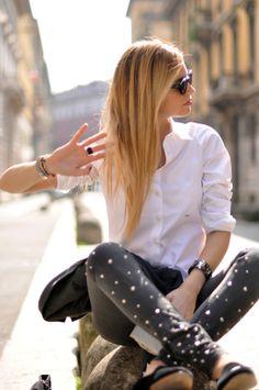Love the crisp white shirt.