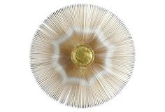 Brass Sunburst Wall Sculpture. Inspiration: drawer pull for dresser or cabinet.
