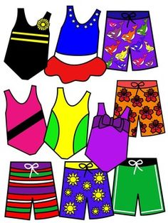 BATHING SUIT CLIP ART * COLOR AND BLACK AND WHITE