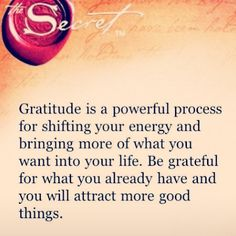 "Gratitude is a powerful process for shifting your energy and bringing more of what you need into your life.  Be grateful for what you already have, and you will attract more good things.""  ★"