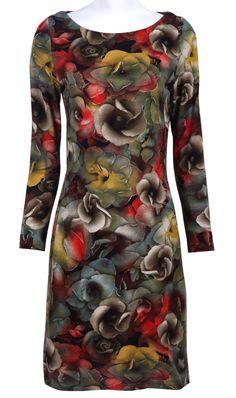 Ink Bloom Flowers Print Long Sleeve Round Neck Dress
