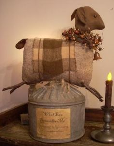 Primitive folk art // Sheep on farm funnel
