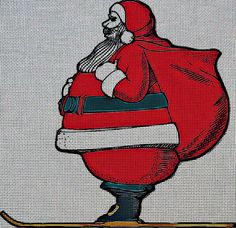 Needlepoint Canvas - Santa claus skiing cartoon red