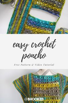 How to make a crochet poncho. Click through for the free pattern and video tutorials! Join me in the 2017 Mystery Poncho Crochet Along! We'll learn a new stitch and make a gorgeous crochet poncho in the process. Crochet Shawl, Easy Crochet, Free Crochet, Knit Crochet, Crochet Edgings, Crochet Motif, Crochet Vests, Crochet Sweaters, Freeform Crochet