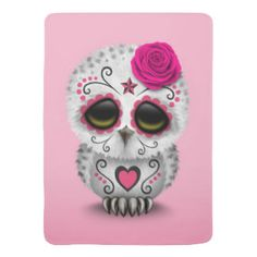 Cute Pink Day of the Dead Sugar Skull Owl Swaddle Blankets