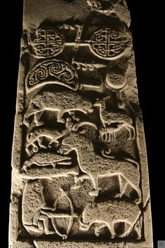 Detail of hunt scene on St Vigeans stone no. 001c. This stone is called the Drosten Stone and is a carved Pictish cross slab stone of the 9th Century. #Scotland #History #Collections