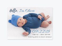 Baby Boy Or Girl Photo Birth Announcement Invitation Template