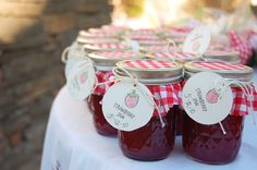 Strawberry jam party favors