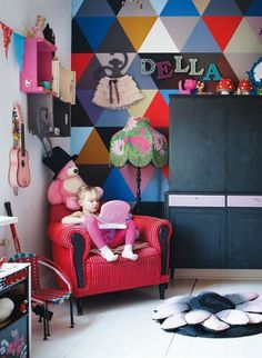 Love the use of a bold pop of color/pattern in a play space