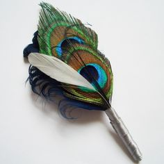 Peacock Feather Boutonniere  Designed in Navy by TheHeadbandShoppe, $18.00