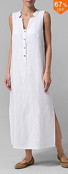 Women Sleeveless Button Pure Color Side Split Dress. #women #fashion #dresses