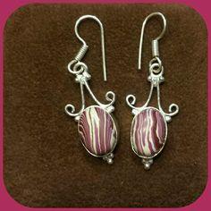 Botswana Lace Agate Earrings-New