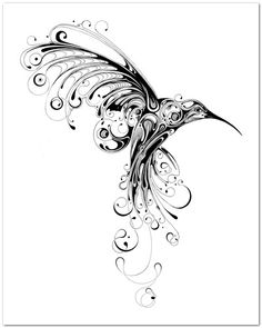 Abstract hummingbird I want this as a tatoo