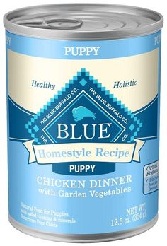 Blue Buffalo Homestyle Puppy Chicken Dinner with Garden Vegetables and Brown Rice Recipe Canned Dog Food - 12.5-oz, case of 12