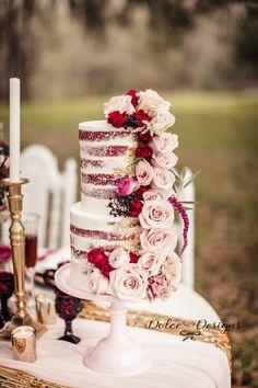 Red Velvet Naked Cake Jenny Haas Photography Wedding Cakes