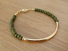 Gold Bangle Bracelet, Gold Tube Bracelet with Olive Green Seed Beads, Gold Bracelet, Beaded Bracelet