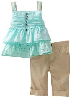 Amazon.com: Calvin Klein Baby Girls\' Ck Top and Khaki Pant, Green, 18 Months: Infant And Toddler Clothing Sets: Clothing